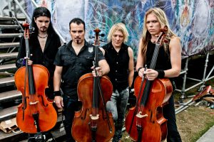 KNEBWORTH, UK - JULY 31: Perttu Kivilaakso, Paavo Lotjonen, Mikko Siren and Eicca Toppinen of  Apocalyptica pose backstage at Sonisphere Festival on July 31, 2010 in Knebworth, UK. (Photo by Christie Goodwin/Redferns)